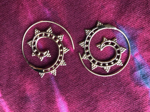 Earrings - Brass Tribal Gypsy  Spirals - Medium Size