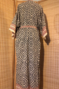 Women's natural hand block printed geometric cotton kimono dressing gown
