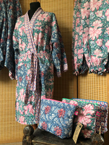 Emma's Emporium block print cotton sets - Kimono gowns, Lounge trousers and wash bags, for cosmetics and toiletries. Handmade in India, 100% cotton luxury.