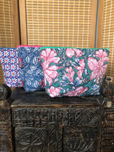 Load image into Gallery viewer, Emma's Emporium block print cotton wash bag, for cosmetics and toiletries. Handmade in India, 100% cotton luxury.