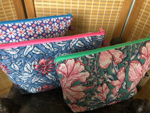 Emma's Emporium block print cotton wash bag, for cosmetics and toiletries. Handmade in India, 100% cotton luxury.