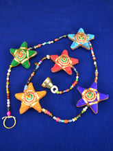Load image into Gallery viewer, Emma's Emporium colourful decorative string of stars. Hanging Indian decoration. Hippie boho home style.