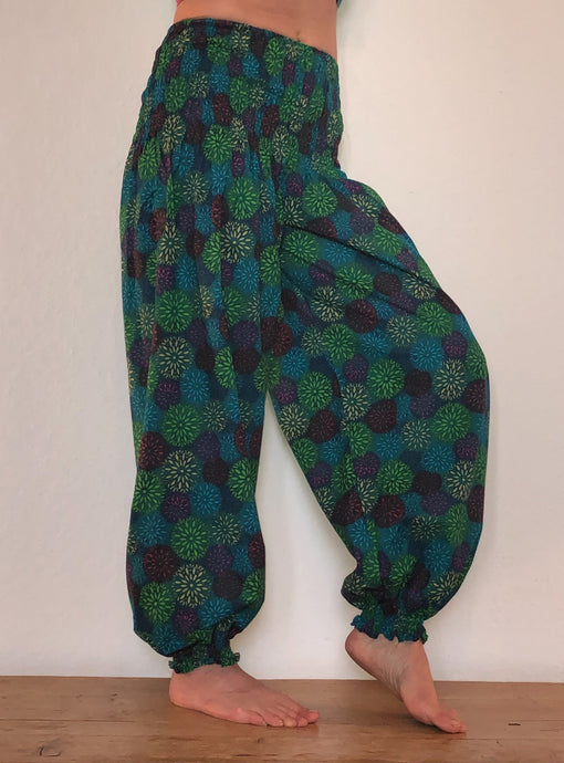 Circle print cotton genie trousers from Emma's Emporium