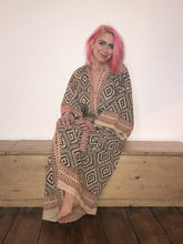 Load image into Gallery viewer, Emma's Emporium dressing gown kimono, full length, 100% cotton, hand block print, natural dyes. Check out our new range of kimonos & gowns on Emma's Emporium