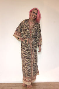 Emma's Emporium dressing gown kimono, full length, 100% cotton, hand block print, natural dyes. Check out our new range of kimonos & gowns on Emma's Emporium