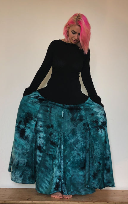 Tie dye maxi skirt with pockets, available to buy now from Emma's Emporium, ethnic and ethical clothing, accessories and homewares.