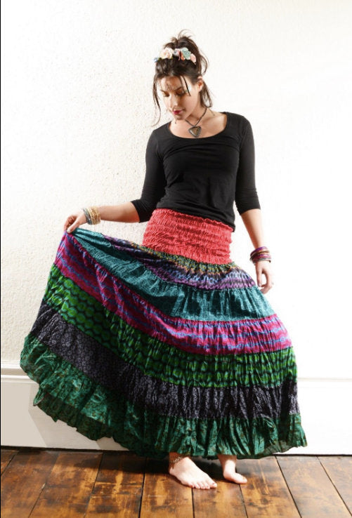 Skirt - Print Cotton Frill Maxi Skirt
