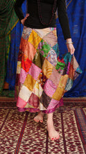 Load image into Gallery viewer, Emma's Emporium recycled silk patchwork wraparound skirt.