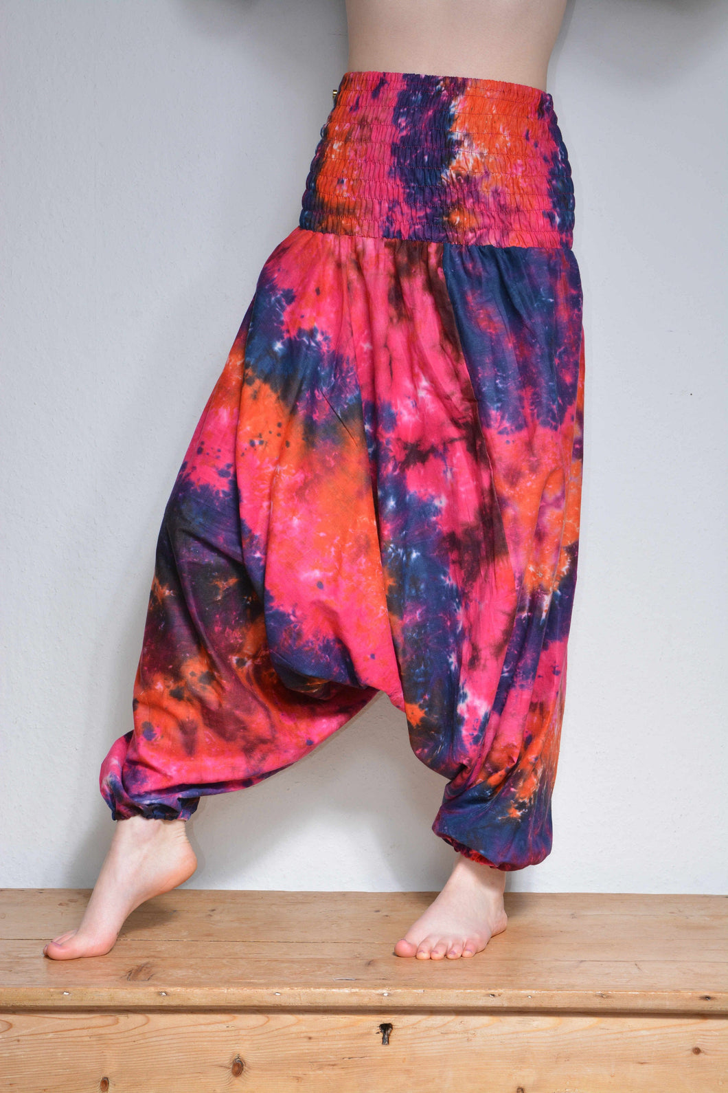Emma's Emporium bright multi colour tie dye hippie trousers - funky festival harem trousers in super soft colourful tie dye cotton