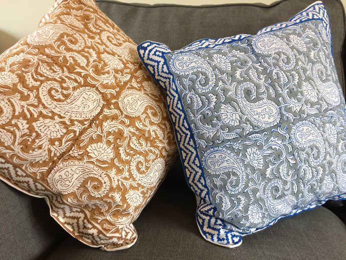 Emma's Emporium Indian Ethnic Paisley block print cushion cover