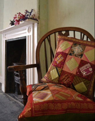 Emma's Emporium recycled beaded sequin colourful embroidered cushion cover.