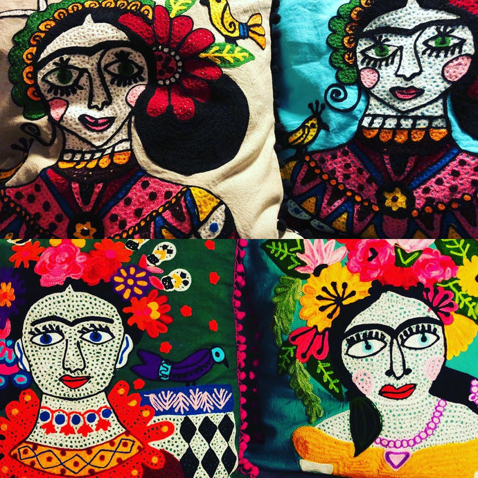 Emma's Emporium Frida Kahlo colourful embroidered cushion cover.