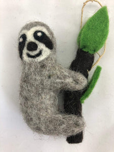 Nepalese felt hanging sloth decoration