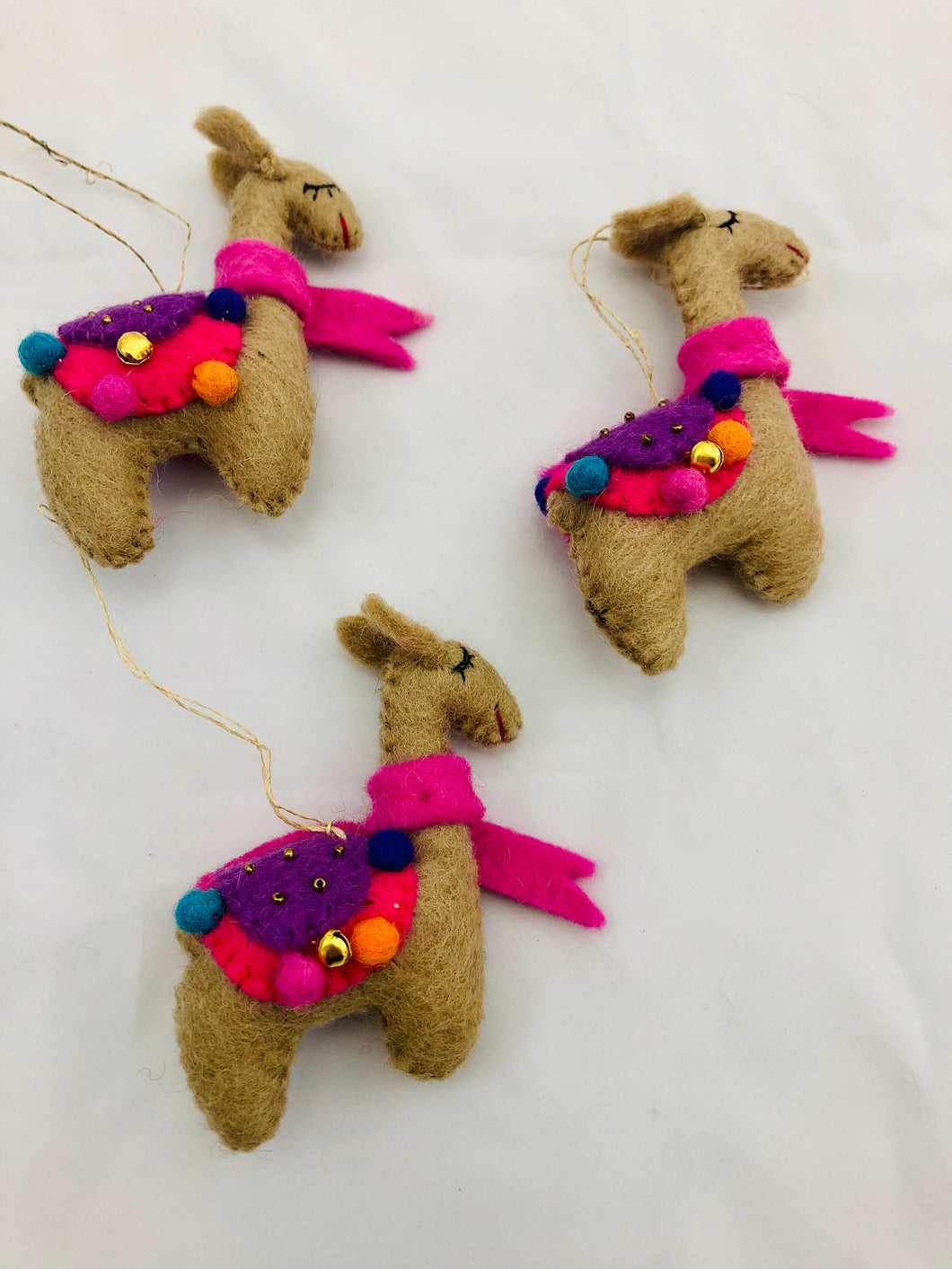 Nepalese felt hanging llama decoration