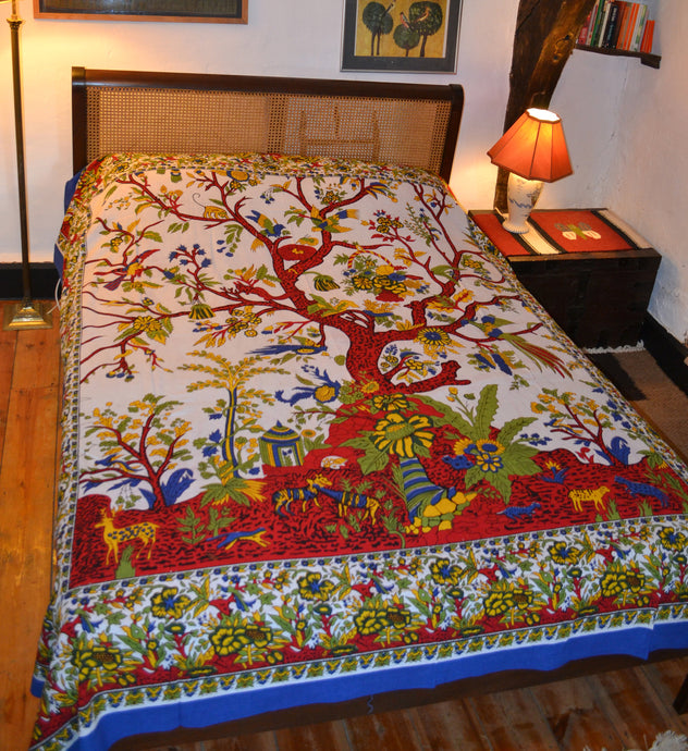 Emma's Emporium Tree of Life cotton bedspread. Hippie printed cotton bedspreads from India, available to buy at Emma's Emporium