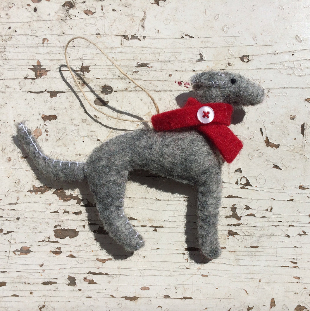 Nepalese felt hanging Grey Hound Dog decoration