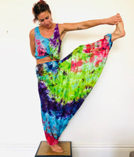 Load image into Gallery viewer, Emma's Emporium bright multi colour tie dye hippie trousers - funky festival harem trousers in super soft colourful rayon