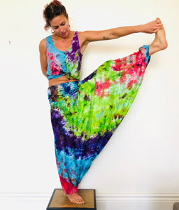 Emma's Emporium bright multi colour tie dye hippie trousers - funky festival harem trousers in super soft colourful rayon