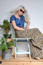 Load image into Gallery viewer, Emma's Emporium Block Print wide leg flared palazzo trouser, floral printed cotton, ethnic hippie style