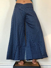 Load image into Gallery viewer, Palazzo Trousers - Extra Wide Leg Blue Cotton Flares