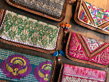 Load image into Gallery viewer, Emma's Emporium Clutch Purse, beautiful Indian embroidery and sequin purses, made from recycled Indian textiles.