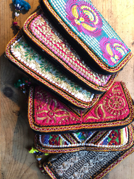 Emma's Emporium Clutch Purse, beautiful Indian embroidery and sequin purses, made from recycled Indian textiles.