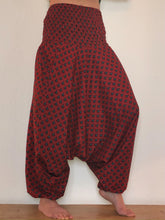 Load image into Gallery viewer, Emma's Emporium Red Peacock print cotton harem trousers