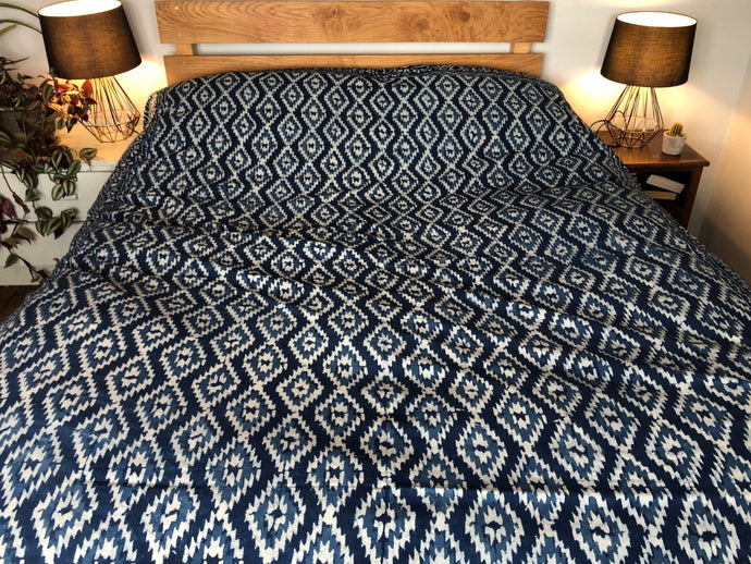 Emma's Emporium hand block printed double kingsize bedspread, indigo blue geometric traditional print handicraft. Ethnic bedspread, wall hanging or throw for you stylish home. hippie style, boho decor, ethnic style. 100% Cotton
