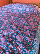 Load image into Gallery viewer, Single Floral Block Printed Bedspread, throw, wall hanging or table cloth