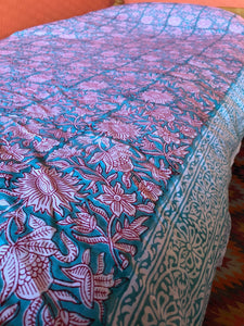 Single Floral Block Printed Bedspread, throw, wall hanging or table cloth