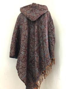 Poncho - Hooded Paisley Fleece Poncho