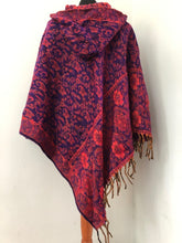 Load image into Gallery viewer, Poncho - Hooded Paisley Fleece Poncho