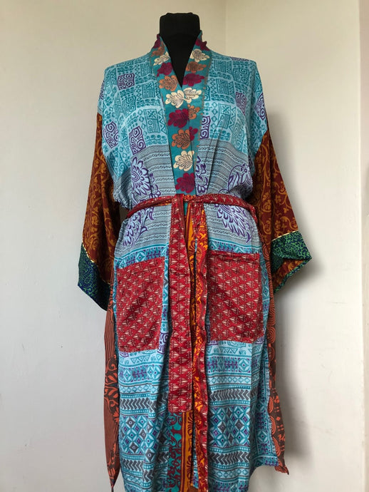 Emma's Emporium Kimono, Indian Recycled gown, Loungewear, Ethical, Alternative, Festival & Boho Fashion.