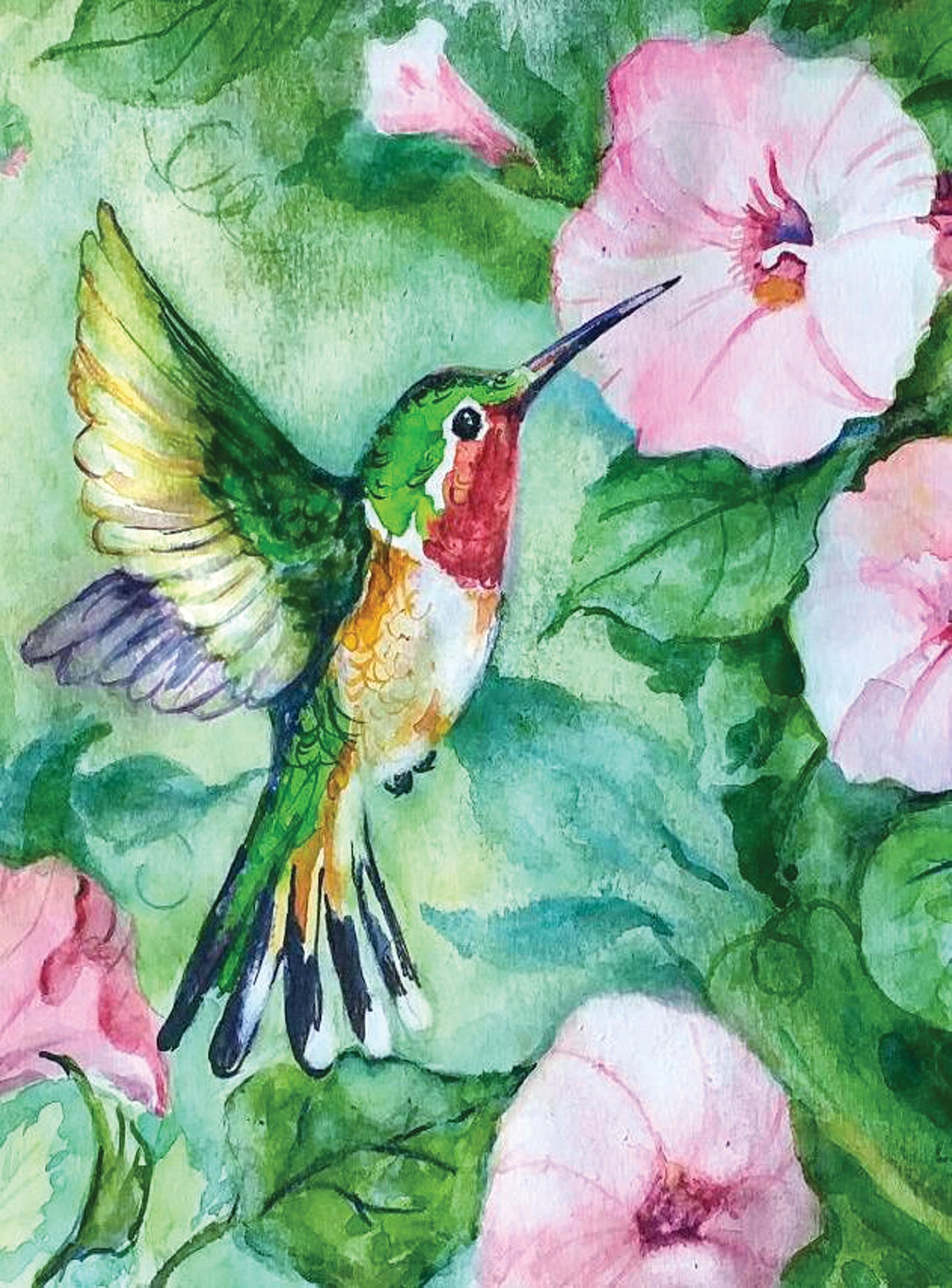 "Medium Hummingbird Watercolor Vertical Cutting Board, 11.5""x8.5"""
