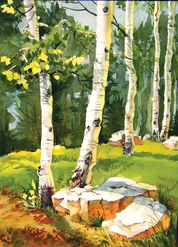 "Large Aspen Forest Watercolor Painting Cutting Board, 11.5""x15.5"""