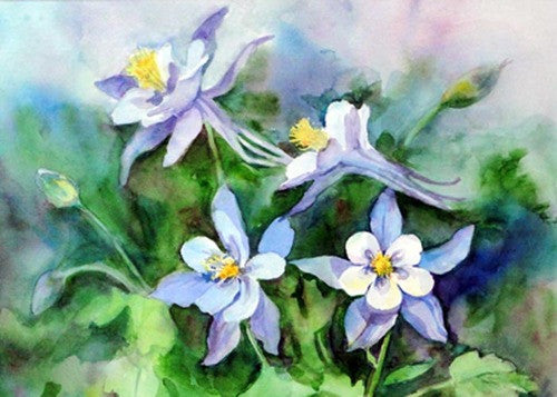 "Large Blue Columbines Watercolor Painting Cutting Board, 11.5""x15.5"""