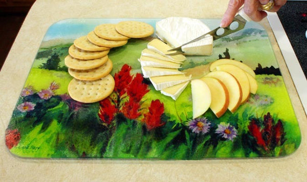 "Medium Wildflower Watercolor Painting Cutting Board, 11.5""x 8.5"""