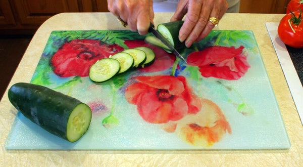 "Large Wildflower Watercolor Painting Cutting Board, 11.5""x15.5"""