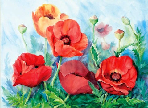 "Medium Oriental Poppies Painting Cutting Board, 11.5""x8.5"""