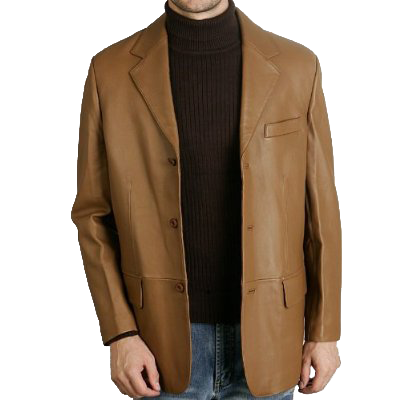 BGSD Men's Classic Three-Button Lambskin Leather Blazer