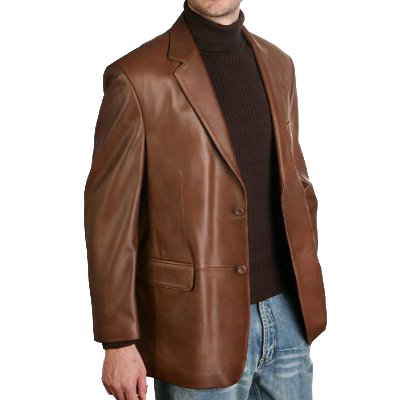 BGSD Men's Classic Two-Button Lambskin Leather Blazer - Regular, Tall, Big, Big & Tall