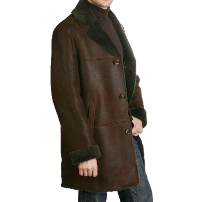 BGSD Men's Himalayan Shearling Long Coat