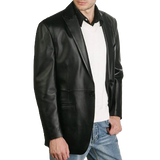 BGSD Men's One Button Lambskin Leather Blazer