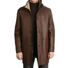 BGSD Men's Sheepskin Shearling Long Coat