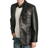 BGSD Men's Three-Button Military New Zealand Lambskin Leather Blazer