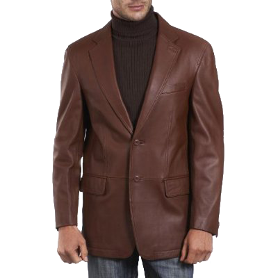 BGSD Men's Two-Button New Zealand Lambskin Leather Blazer - Regular & Tall