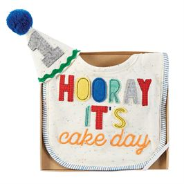 Baby Cake Smash Set - bib & hat for 1st birthday celebration
