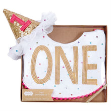 Load image into Gallery viewer, Baby Cake Smash Set - bib & hat for 1st birthday celebration