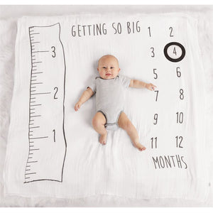Watch Me Grow Muslin Growth Chart Blanket