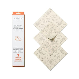 Abeego — Medium Reusable Beeswax Wraps (3-Pack)